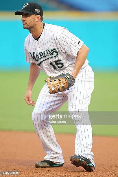 Gaby Sanchez of the Florida Marlins plays against the Philadelphia Phillies at SunLife Stadium on July 6 2011 in Miami Gardens Florida
