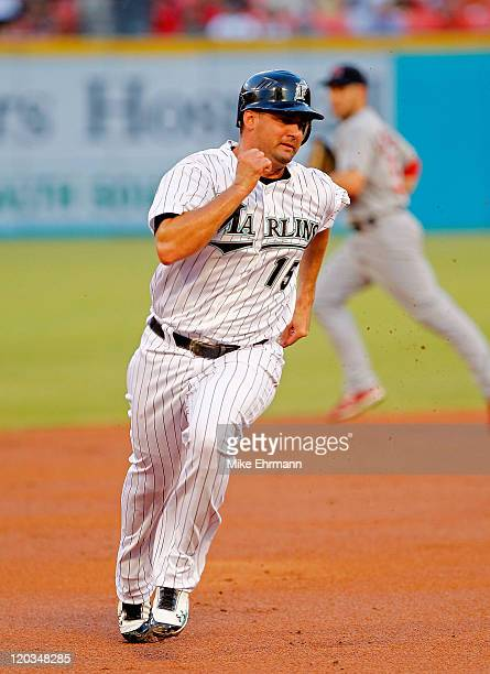 Gaby Sanchez of the Florida Marlins rounds the bases during a game against the St Louis Cardinals at Sun Life Stadium on August 4 2011 in Miami...