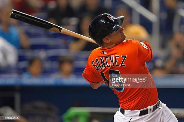 Gaby Sanchez of the Miami Marlins bats during a game against the Arizona Diamondbacks at Marlins Park on April 30 2012 in Miami Florida The Arizona...