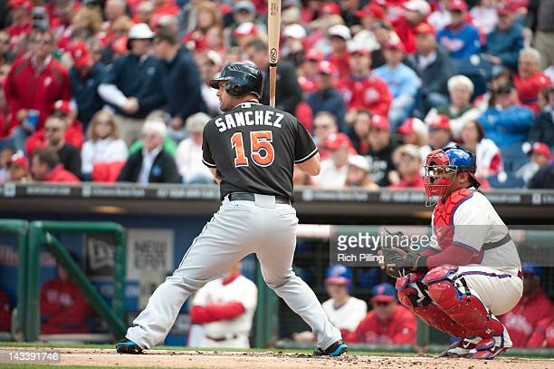Gaby Sanchez of the Miami Marlins bats during the game against the Philadelphia Phillies on Monday April 9 2012 at Citizens Bank Park in Philadelphia...