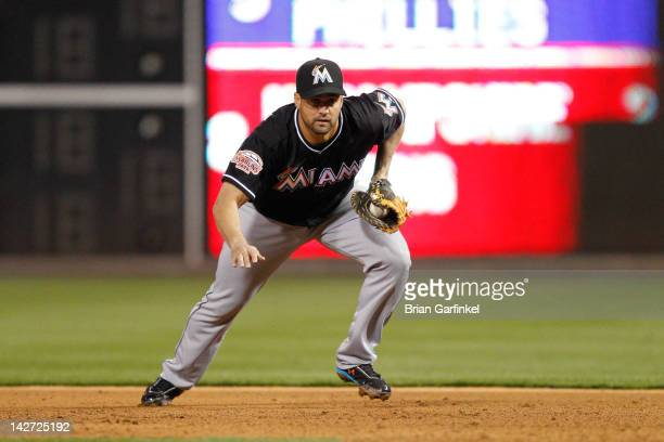 Gaby Sanchez of the Miami Marlins fields the ball during the game against the Philadelphia Phillies at Citizens Bank Park on April 11 2012 in...