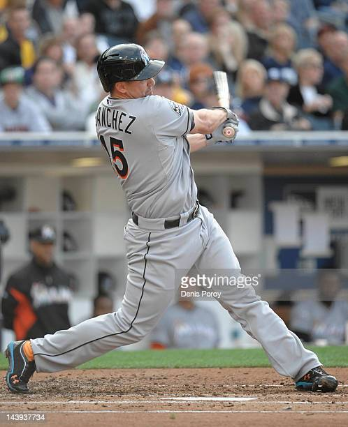 Gaby Sanchez of the Miami Marlins hits a double during the third inning of a baseball game against the San Diego Padres at Petco Park on May 5 2012...