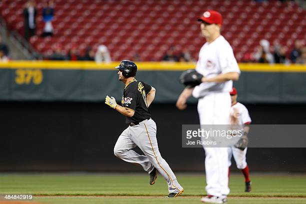 Gaby Sanchez of the Pittsburgh Pirates rounds the bases after hitting a home run in the second inning of the game against the Cincinnati Reds at...