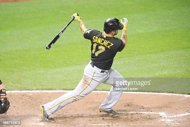 Gaby Sanchez of the Pittsburgh Pirates takes a swing during a baseball game against the Baltimore Orioles in game two of a doubleheader on May 1 2014...