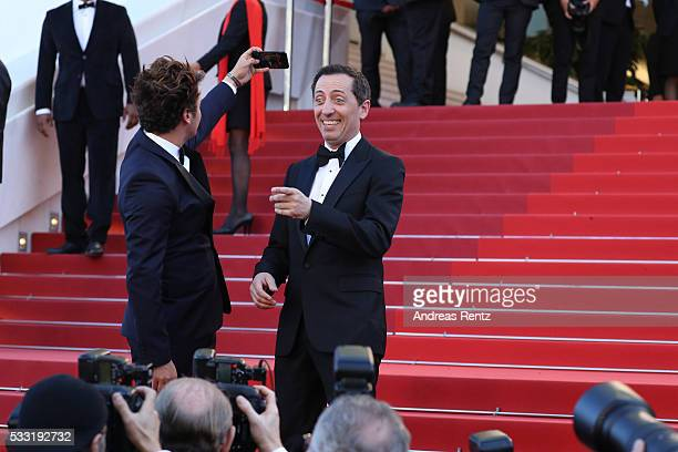 """Gad Elmaleh and Kev Adams attend the """"Elle"""" Premiere during the 69th annual Cannes Film Festival at the Palais des Festivals on May 21, 2016 in..."""