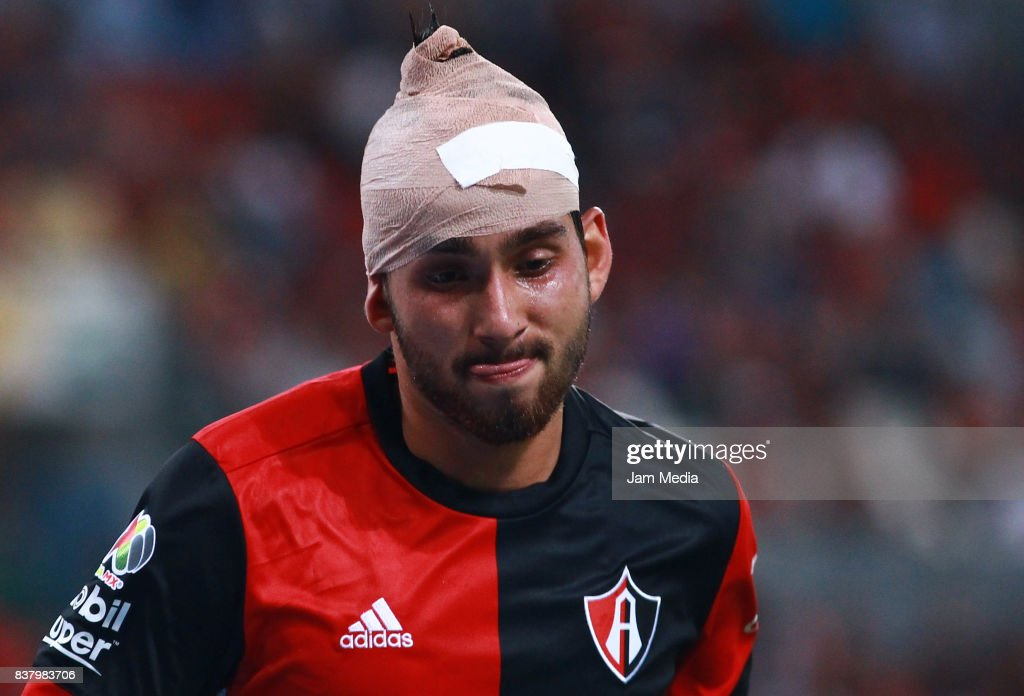 Gaddi Aguirre of Atlas gestures during the 6th round match between Atlas and Lobos BUAP as part of the Torneo Apertura 2017 Liga MX at Jalisco Stadium on August 22, 2017 in Guadalajara, Mexico.
