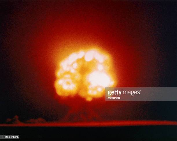 'Gadget', the first atomic bomb explodes at Alamogordo, New Mexico, on July 16, 1945. The successful test cleared the way for use of a nuclear device...