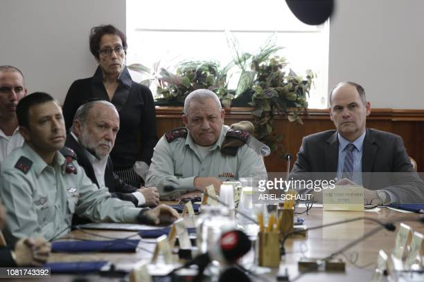 Gadi Eizenkot, the Chief of General Staff of the Israel Defense Forces participates in weekly cabinet meeting in Jerusalem on January 13, 2018. -...