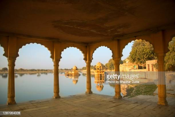 gadisar lake - arch stock pictures, royalty-free photos & images