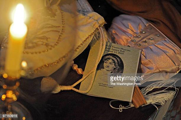 AUGUST 15 2009 Gadsby's Tavern 134 N Royal Street Alexandria VA The Jane Austen Ball with period costumes of the 1790's Ladies purses and fans sit by...