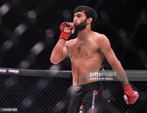Gadzhi Rabadanov in the cage after defeating Daniel Carey by TKO in the second round of their 150 lb. Contract Weight Bout at The Forum on July 31,...