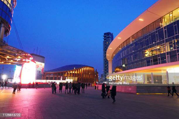 gae aulenti square in porta nuova business district, milan - square stock pictures, royalty-free photos & images