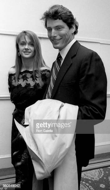 Gae Exton and Christopher Reeve attend American Museum of the Moving Image Gala on April 15 1985 at the Pierre Hotel in New York City