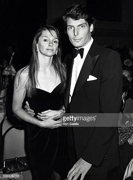 Gae Exton and Christopher Reeve during American Museum of The Moving Image Salutes Sidney Lumet at Waldorf Astoria Hotel in New York City New York...