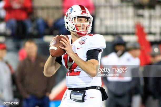 Gaej Walker of the Western Kentucky Hilltoppers throws a pass in the game against the Old Dominion Monarchs on October 20 2018 in Bowling Green...