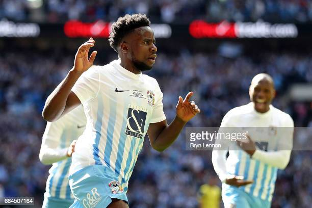 Gael Bigirimana of Coventry City celebrates after scoring during the EFL Checkatrade Trophy Final between Coventry City v Oxford United at Wembley...
