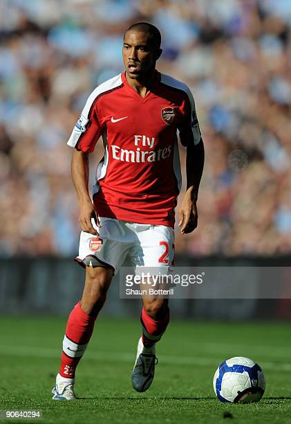 Gael Clichy of Arsenal on action during the Barclays Premier League match between Manchester City and Arsenal at the City of Manchester Stadium on...