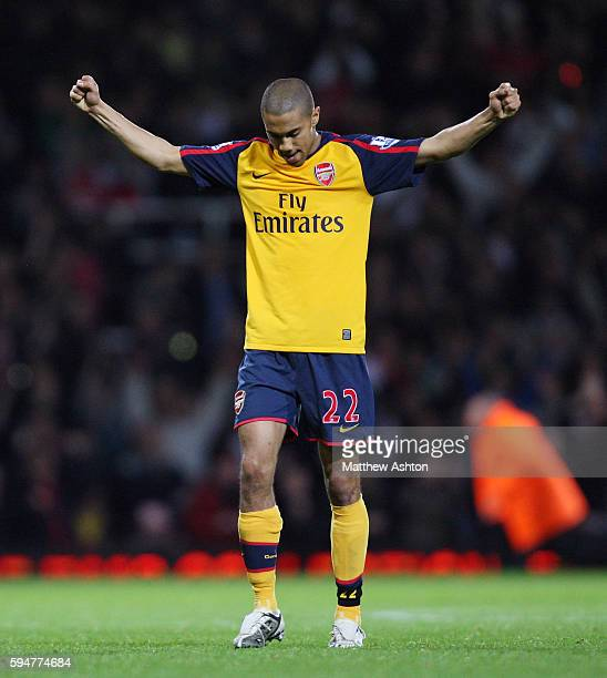Gael Clichy of Arsenal punches the air after Arsenal win 02