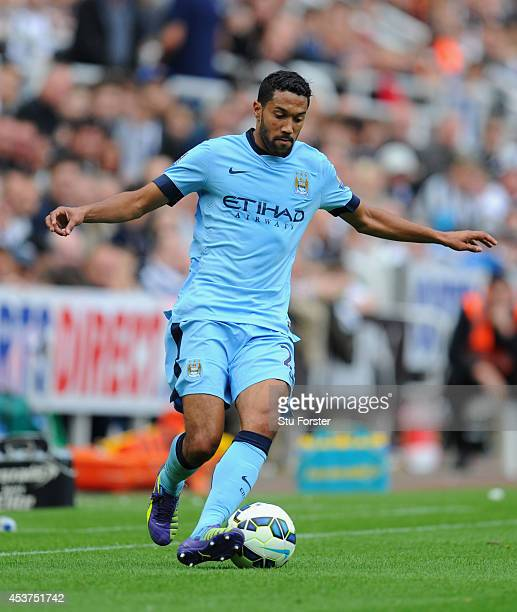 Gael Clichy of Man City in action during the Barclays Premier League match between Newcastle United and Manchester City at St James' Park on August...