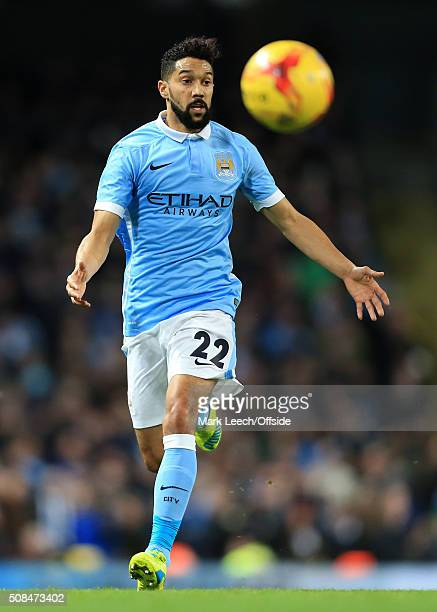 Gael Clichy of Man City in action during the Capital One Cup SemiFinal Second Leg match between Manchester City and Everton at the Etihad Stadium on...
