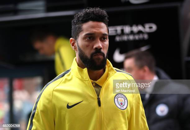 Gael Clichy of Manchester City arrives at the stadium prior to The Emirates FA Cup QuarterFinal match between Middlesbrough and Manchester City at...