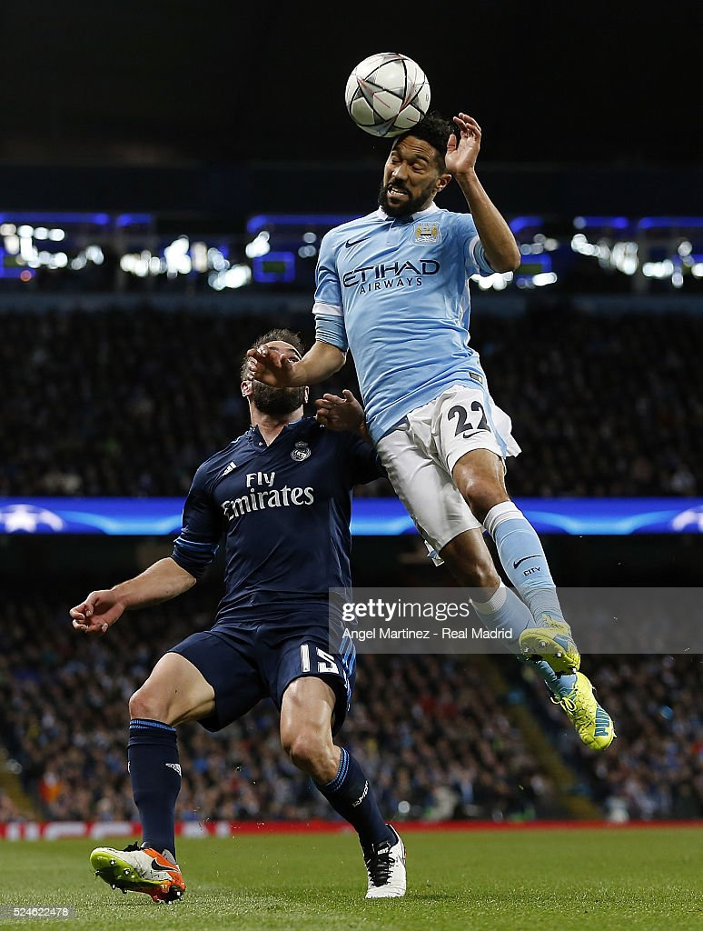 Gael Clichy of Manchester City competes for the ball with Gael Clichy of Real Madrid during the UEFA Champions League Semi Final first leg match between Manchester City FC and Real Madrid at the Etihad Stadium on April 26, 2016 in Manchester, United Kingdom.