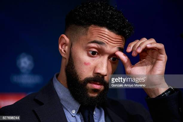 Gael Clichy of Manchester City faces the media during a press conference ahead of the UEFA Champions League Semi Final second leg match between Real...