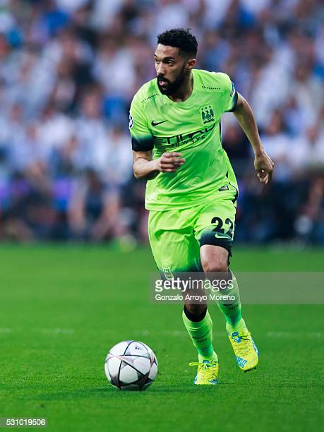 MADRID SPAIN MAY 4 Gael Clichy of Manchester City FC controls the ball during the UEFA Champions League Semi Final second leg match between Real...