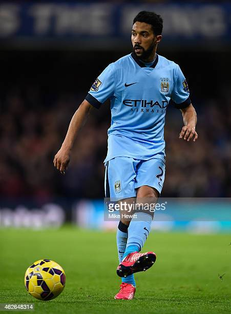 Gael Clichy of Manchester City in action during the Barclays Premier League match between Chelsea and Manchester City at Stamford Bridge on January...