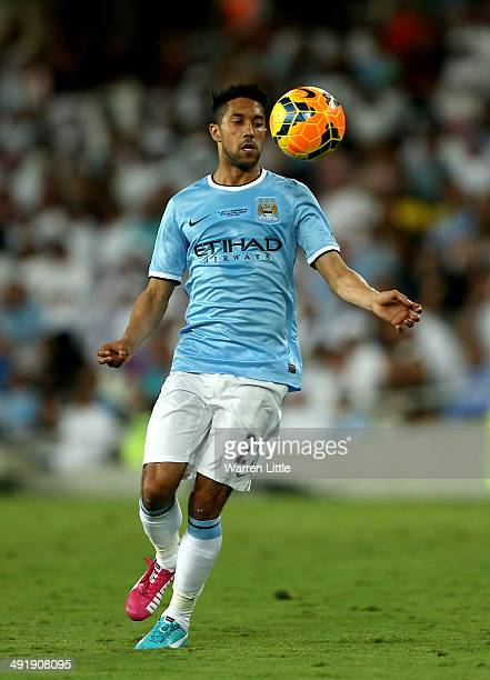 Gael Clichy of Manchester City in action during the friendly match between Al Ain and Manchester City at Hazza bin Zayed Stadium on May 15 2014 in Al...