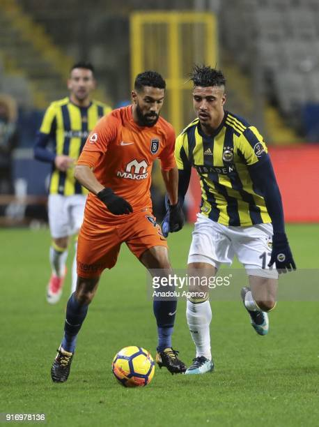 Gael Clichy of Medipol Basaksehir in action against Nabil Dirar of Fenerbahce during the Turkish Super Lig soccer match between Medipol Basaksehir...