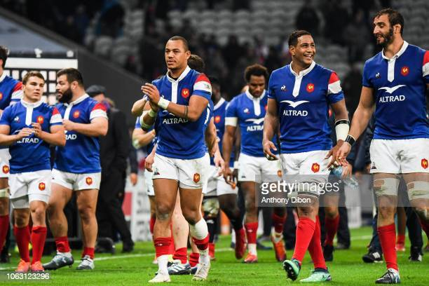 Gael Fickou and Mathieu Babillot and Yoann Maestri of France celebrates during the Test match between France and Argentina on November 17 2018 in...