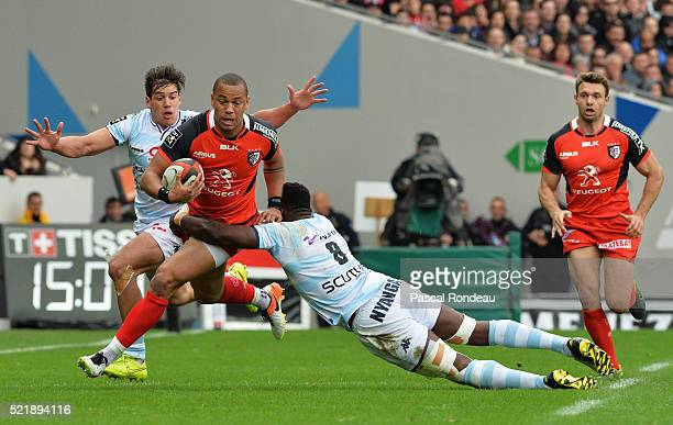 Gael Fickou from Toulouse in action during the French Top 14 rugby union match between Toulouse v Racing 92 at Stade Ernest Wallon on April 17, 2016...