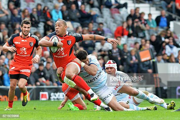 Gael Fickou from Toulouse in action during the French Top 14 rugby union match between Toulouse v Racing 92 at Stade Ernest Wallon on April 17 2016...