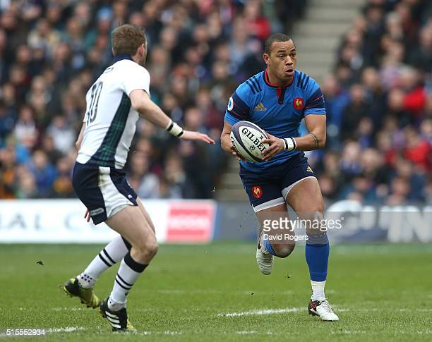 Gael Fickou of France breaks with the ball during the RBS Six Nations match between Scotland and France at Murrayfield Stadium on March 13 2016 in...