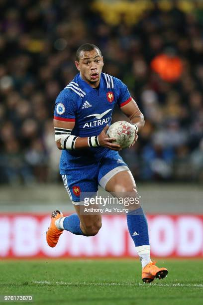 Gael Fickou of France in action during the International Test match between the New Zealand All Blacks and France at Westpac Stadium on June 16 2018...