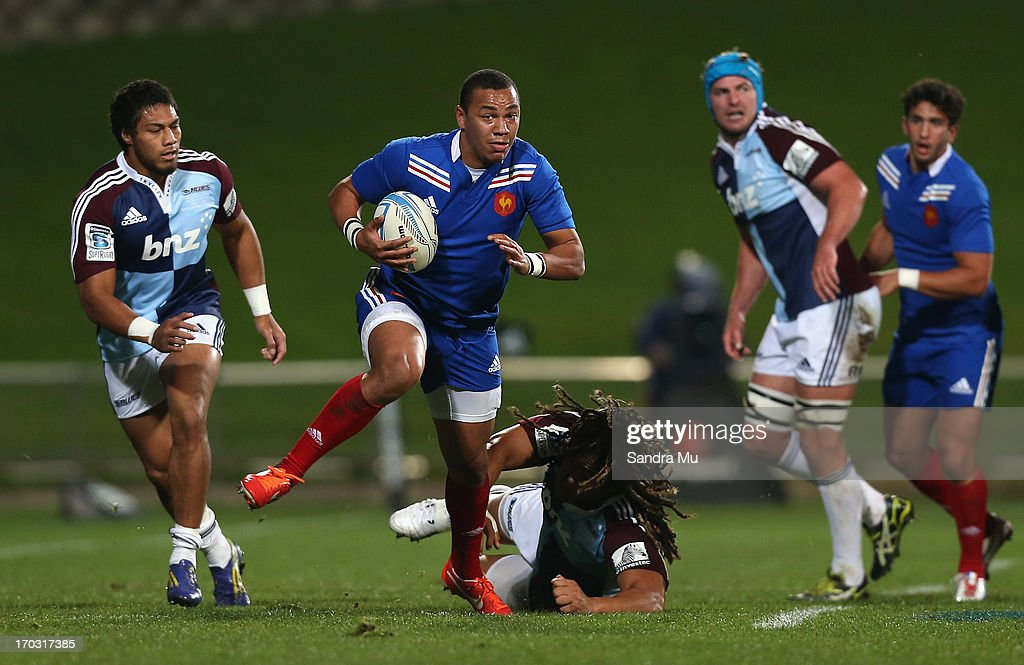 Gael Fickou of France in action during the tour match between the Auckland Blues and France at North Harbour Stadium on June 11, 2013 in Auckland, New Zealand.