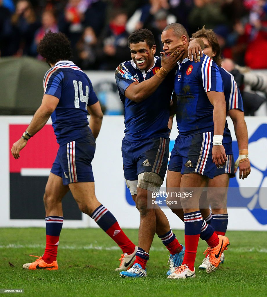 Gael Fickou of France is congratulated by Wesley Fofana of France during the RBS Six Nations match between France and England at Stade de France on February 1, 2014 in Paris, France.