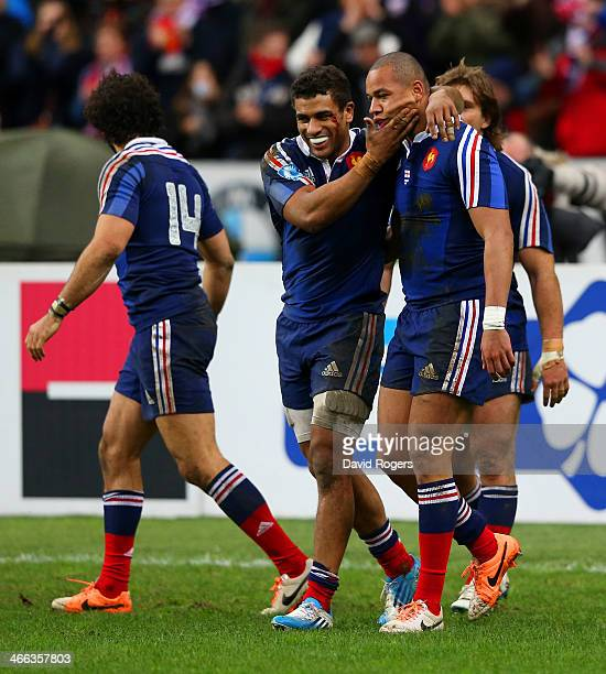 Gael Fickou of France is congratulated by Wesley Fofana of France during the RBS Six Nations match between France and England at Stade de France on...