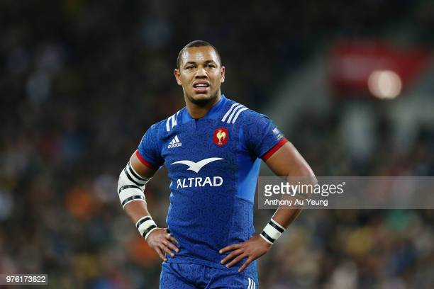 Gael Fickou of France looks on during the International Test match between the New Zealand All Blacks and France at Westpac Stadium on June 16 2018...