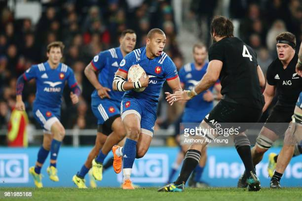 Gael Fickou of France makes a run during the International Test match between the New Zealand All Blacks and France at Forsyth Barr Stadium on June...