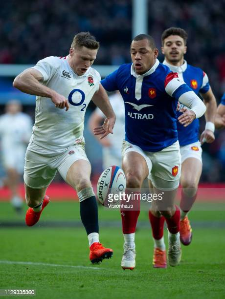 Gael Fickou of France prepares to tackle Chris Ashton Fickou was shown the yellow card and England were awarded a penalty try during the Guinness Six...