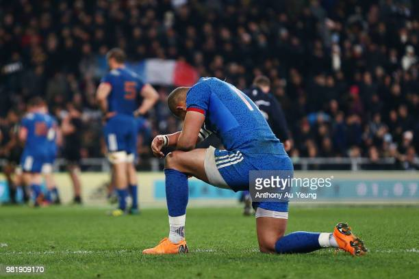 Gael Fickou of France reacts after losing the International Test match between the New Zealand All Blacks and France at Forsyth Barr Stadium on June...
