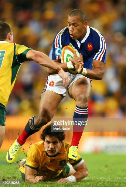 Gael Fickou of France runs the ball during the First International Test Match between the Australian Wallabies and France at Suncorp Stadium on June...