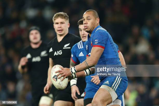 Gael Fickou of France runs the ball during the International Test match between the New Zealand All Blacks and France at Forsyth Barr Stadium on June...