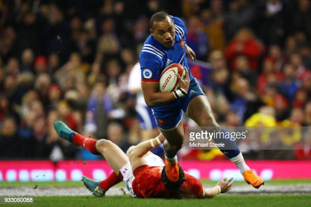 Gael Fickou of France scores his side's first try during the NatWest Six Nations match between Wales and France at Principality Stadium on March 17...