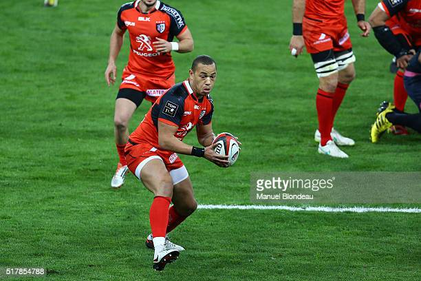 Gael Fickou of Toulouse during the French Top 14 rugby union match between Stade Toulousain v Stade Francais Paris at Stadium Municipal on March 27...