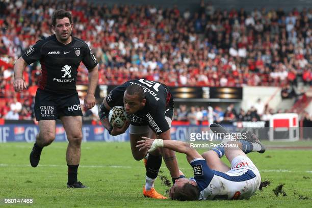 Gael Fickou of Toulouse in action during the French Top 14 match between Stade Toulousain and Castres at Stade Ernest Wallon on May 19 2018 in...