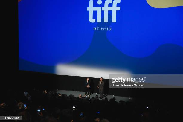 """Gael García Bernal addresses the audience at the """"Chicuarotes"""" premiere during the 2019 Toronto International Film Festival at Scotiabank Theatre on..."""