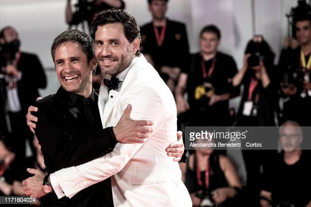 """Gael Garcia Bernal and Edgar Ramirez walk the red carpet ahead of the """"Wasp Network"""" screening during the 76th Venice Film Festival at Sala Grande on..."""